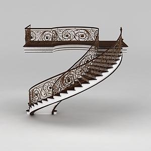 3d现代欧式室内楼梯模型