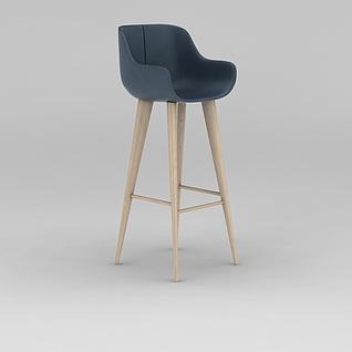 现代简约木质高脚椅子3d模型3d模型