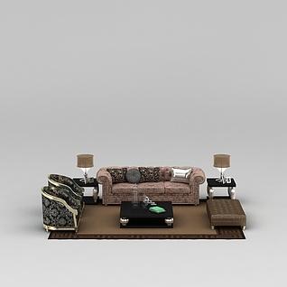 现代欧式客厅软沙发3d模型3d模型