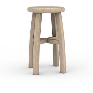现代实木圆几3d模型3d模型