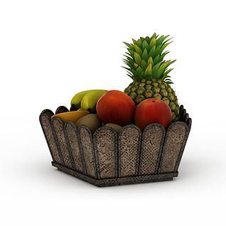 果筐果篮果盘时令水果3d模型3d模型