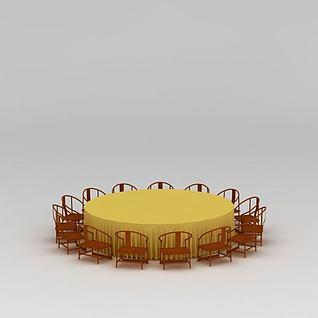 中式大型实木饭店桌椅组合3d模型
