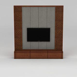 现代实木雕花电视柜3d模型
