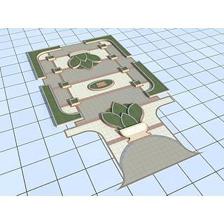 广场景观3d模型