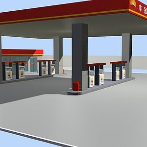 加油站模型3d模型
