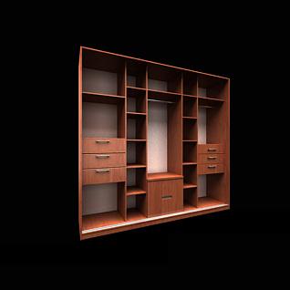 现代实木边柜置物柜3d模型