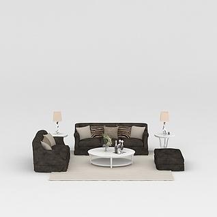 简约时尚欧式软沙发3d模型3d模型