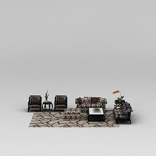 中式客厅组合沙发3d模型3d模型
