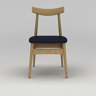 现代简约实木餐椅3d模型