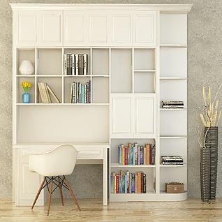 现代简欧精美书柜3d模型