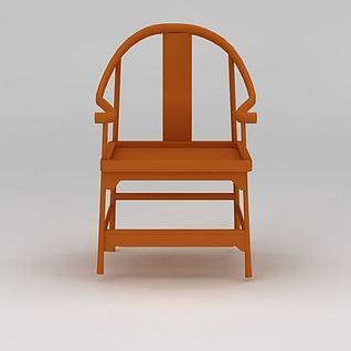 中式实木扶手椅子3d模型