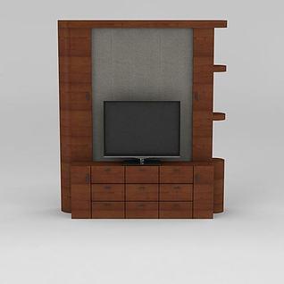小型实木电视柜3d模型