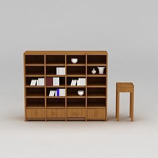 现代实木精美书柜3d模型