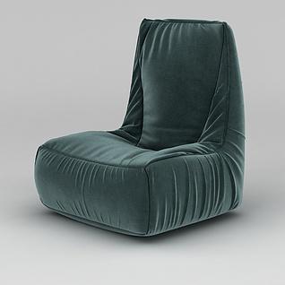 现代软包墨绿色布艺沙发椅3d模型3d模型