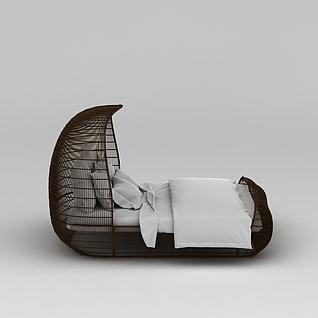 创意编织格子双人床3d模型3d模型