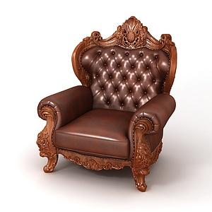 3d欧式软包<font class='myIsRed'>皮质沙发</font>椅模型