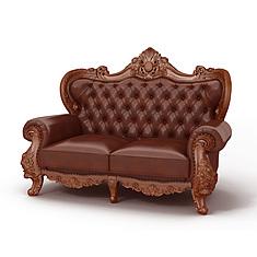 欧式软包皮质双人沙发3D模型3d模型