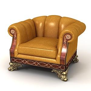 3d欧式豪华<font class='myIsRed'>皮质沙发</font>椅模型
