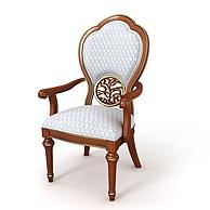 现代实木雕花休闲椅3D模型3d模型