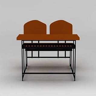现代课桌3d模型