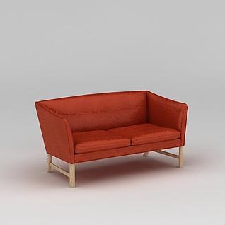 现代红色双人沙发3d模型3d模型