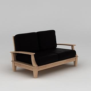 现代实木黑色沙发3d模型3d模型