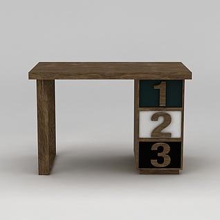 现代实木桌子3d模型3d模型