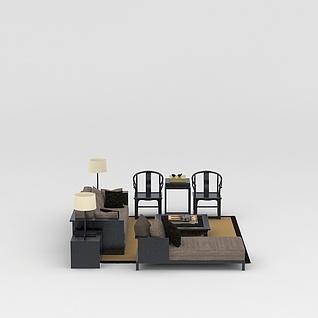 中式客厅沙发座椅组合3d模型3d模型