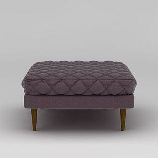 欧式紫色软包沙发凳3d模型