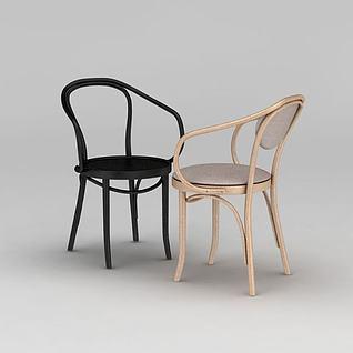 现代曲木椅子3d模型