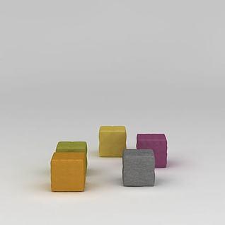 现代沙发矮凳3d模型