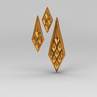欧式豪华金属雕花饰品3d模型