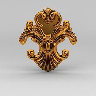 欧式金色雕花装饰品3d模型
