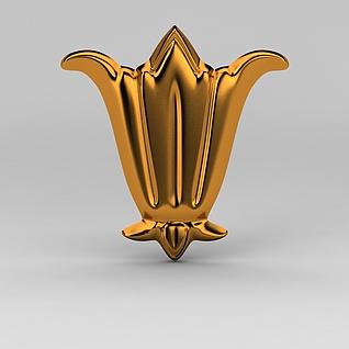 现代金属雕花装饰品3d模型