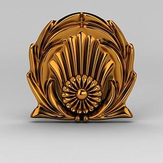 欧式豪华金色雕花装饰品3d模型