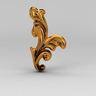 现代金属雕花3d模型