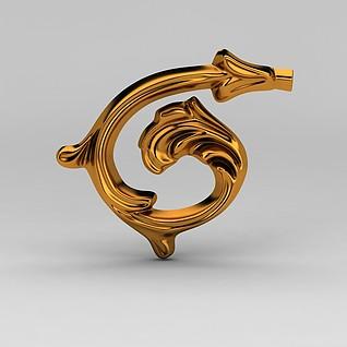 欧式金属雕花装饰品3d模型