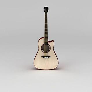 白橡木民谣吉他3d模型