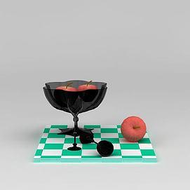 果盘苹果高脚杯组合模型