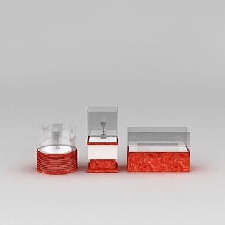 红色展柜展台组合3d模型
