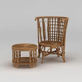 编织藤椅茶几组合3d模型