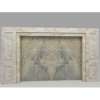 欧式石材电视墙3d模型