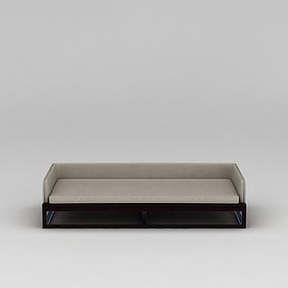中式实木布艺沙发3d模型3d模型