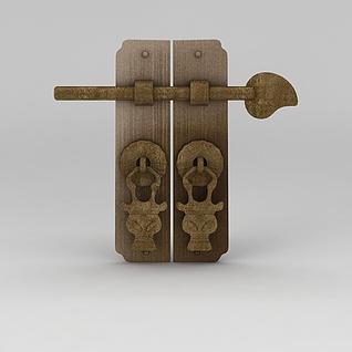 中式门把手3d模型