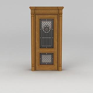 欧式实木印花房门3d模型