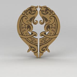 中式雕花门把手3d模型