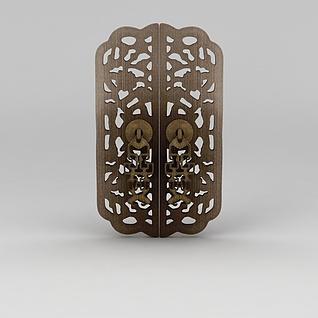 中式金属雕花门把手3d模型