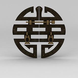 中式喜字门把手3d模型