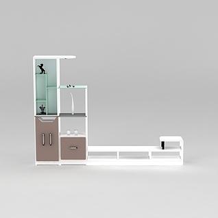 现代简约白色电视柜3d模型3d模型