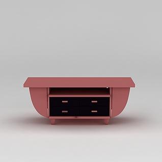 现代粉色电视柜3d模型3d模型